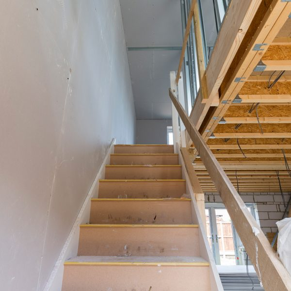 Dry lining in stairway